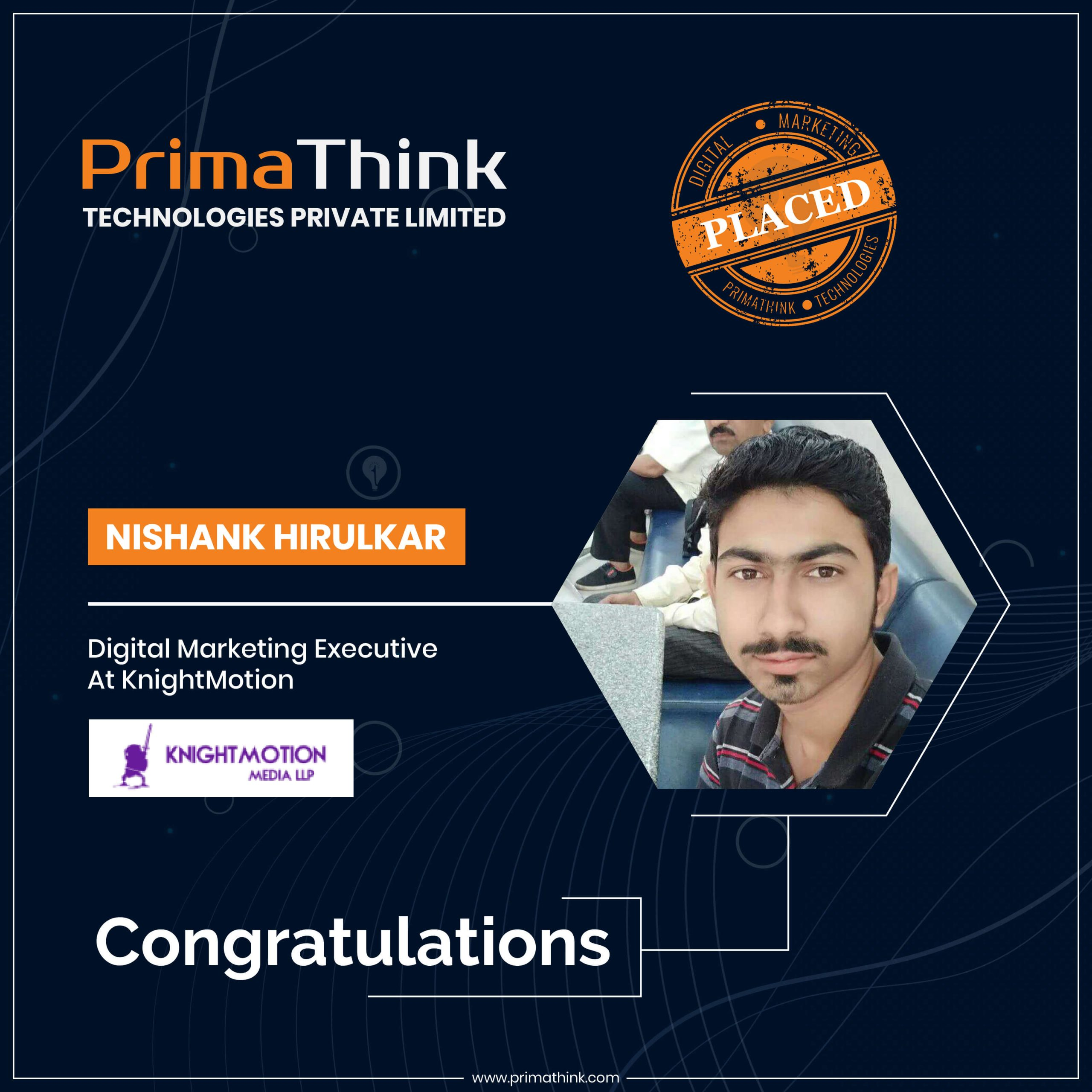 Nishank placed digital marketing course in pune