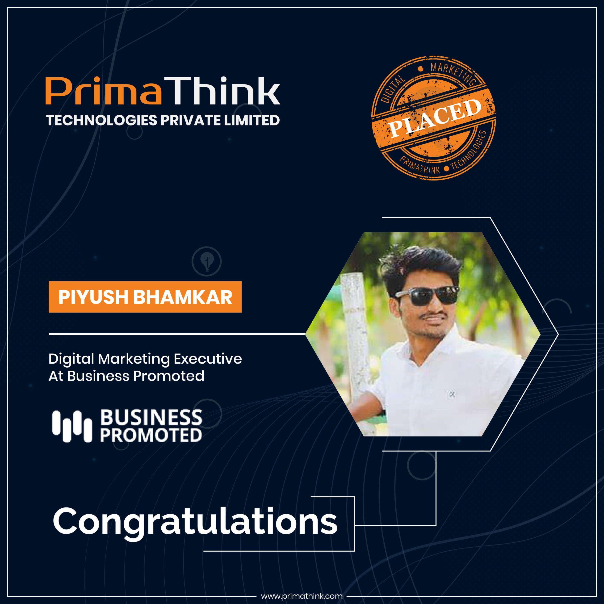 Piyush Placed digital marketing training in pune