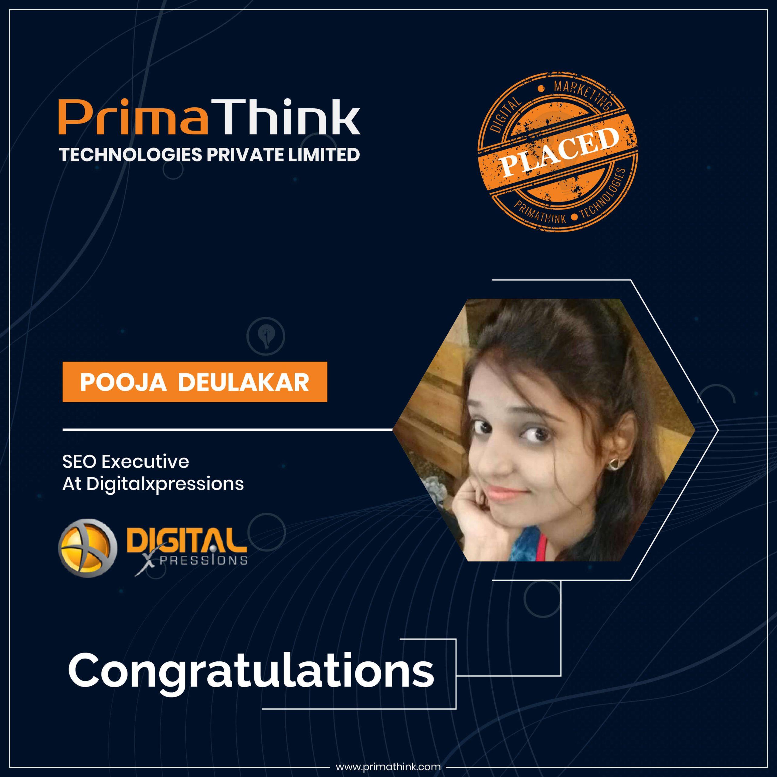 Pooja Digital Marketing training nagpur primathink