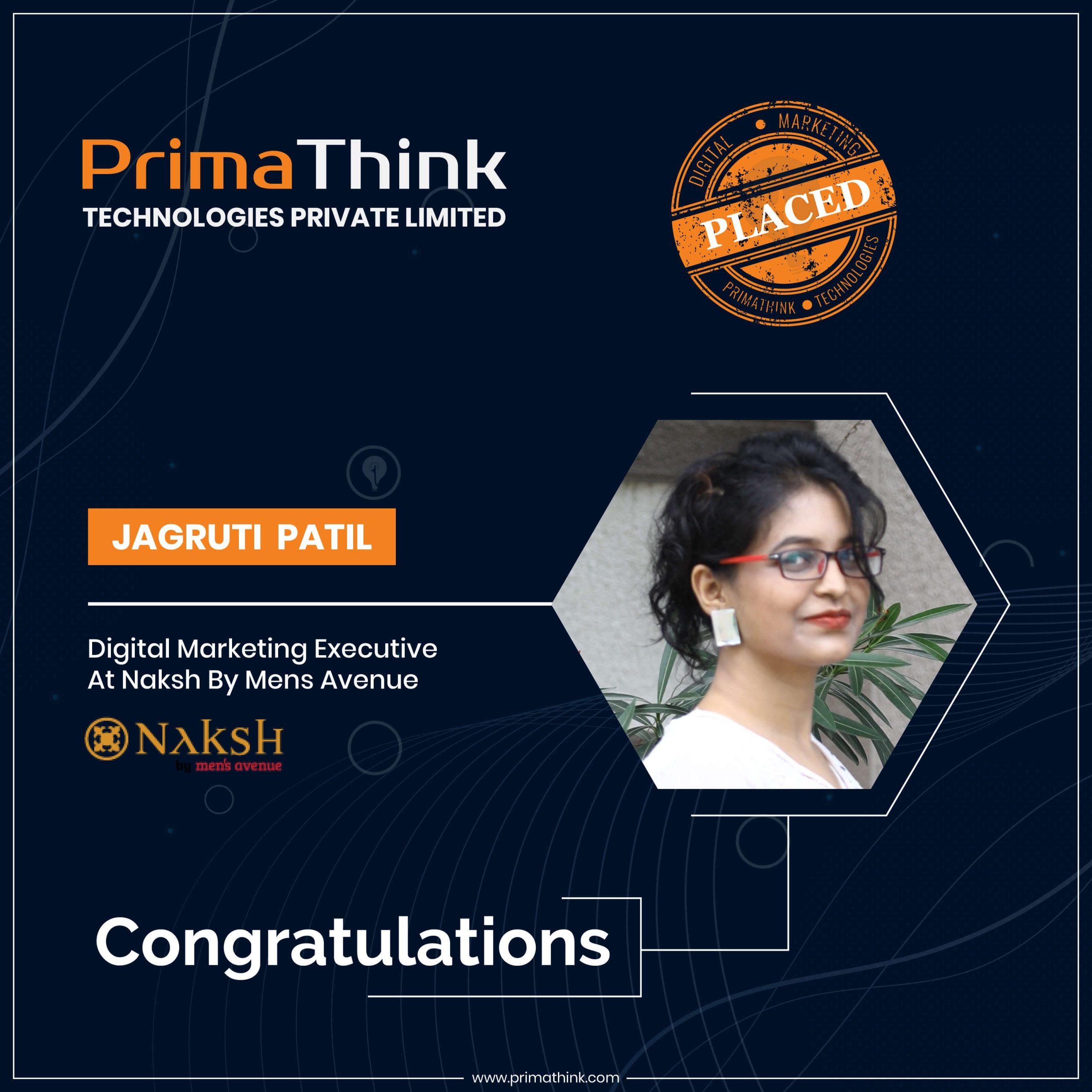 jagruti placed by digital marketing training primathink