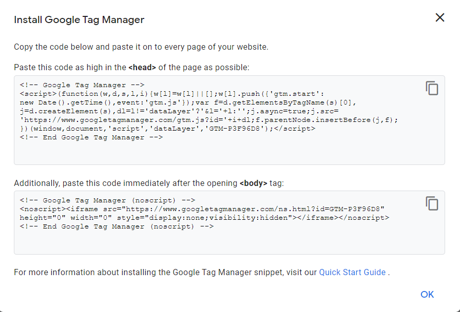 how to set up code of google tag manager in wordpress primathink