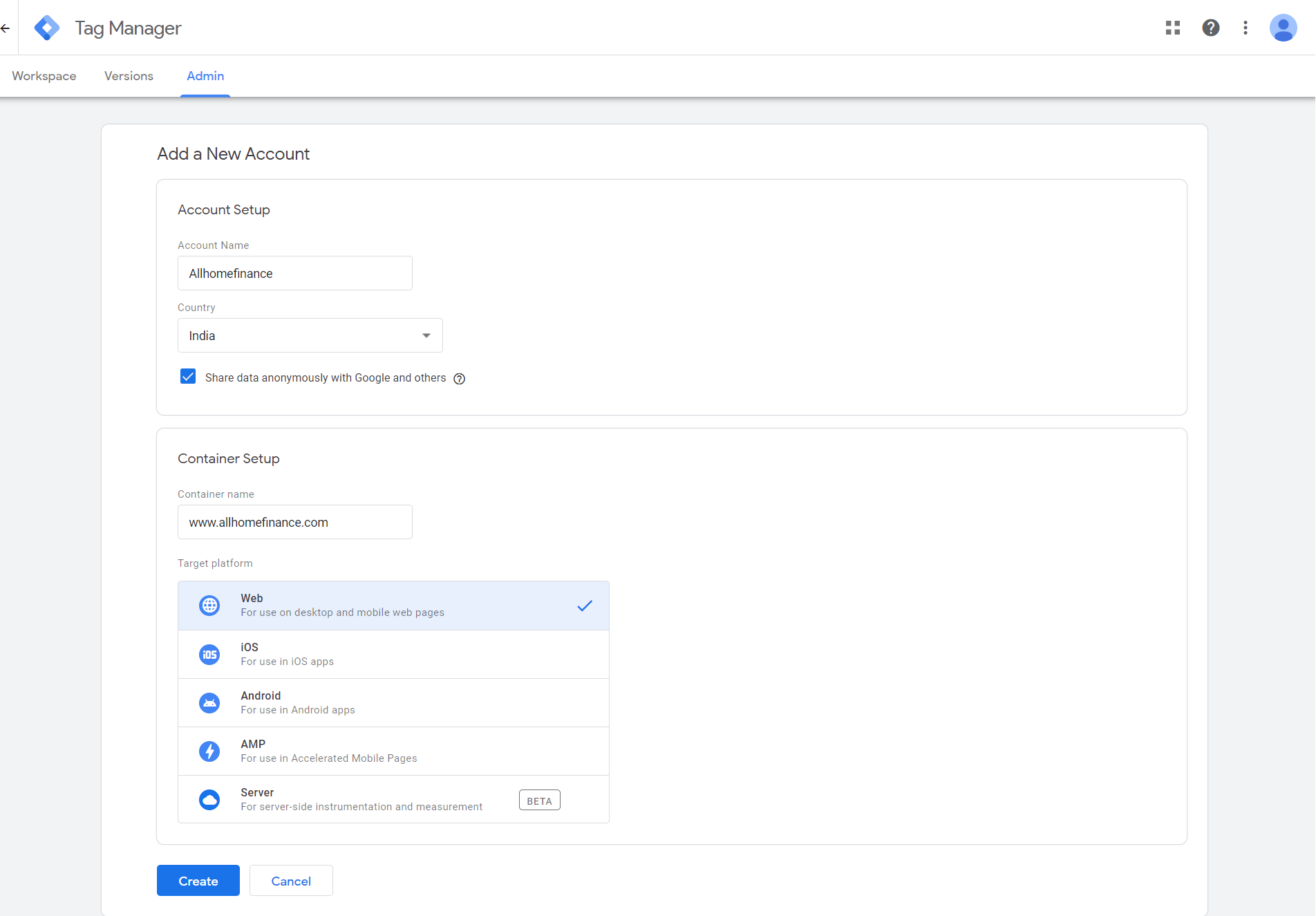 how to set up account in Google tag manager primathink