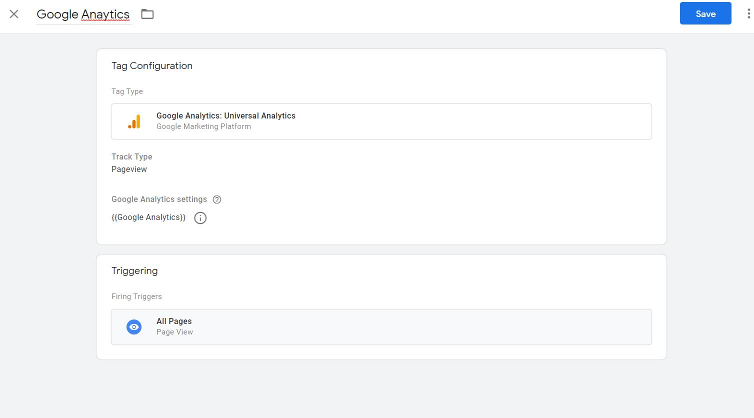 google Analytics code set up in GTM