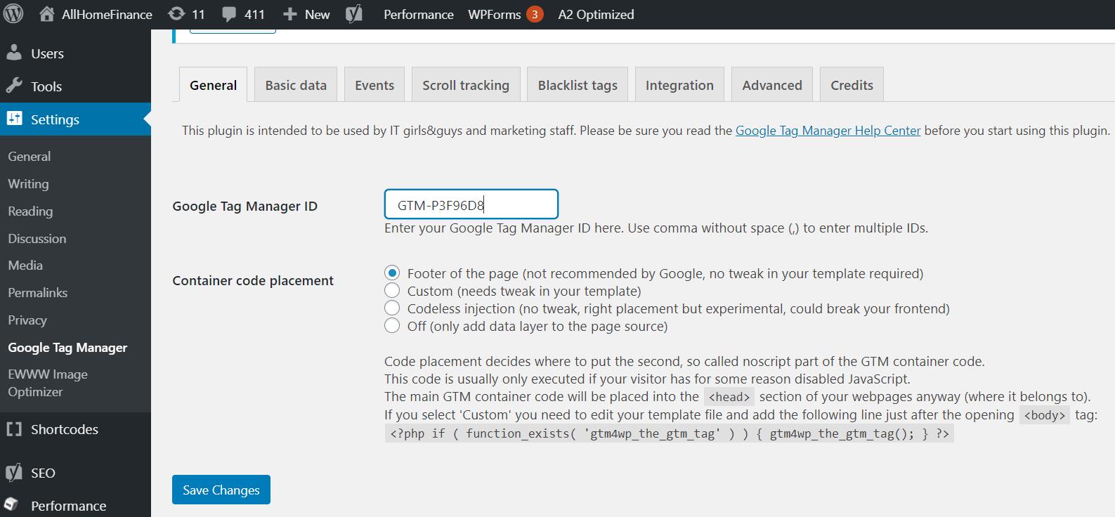 Setting GTM code using plugin in wordpress - primathink
